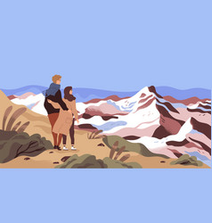 mountain rest flat enamored vector image
