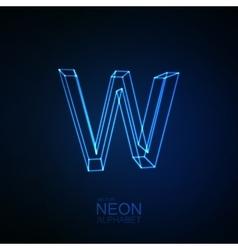 Neon 3D letter W vector