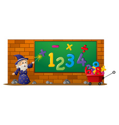 Old wizard and numbers on the board vector
