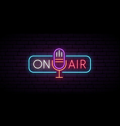 on air neon sign retro microphone in frame vector image