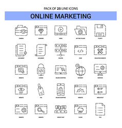 Online marketing line icon set - 25 dashed vector