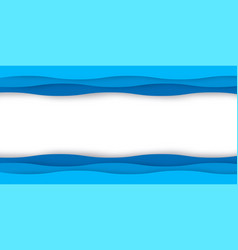 origami blue water waves 3d paper cut design vector image