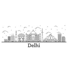 Outline delhi india city skyline with historic vector