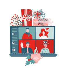 People meeting online together via video calling vector