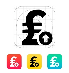 Pound sterling exchange rate up icon vector image