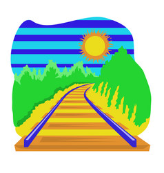 Railway track going over horizon isolation vector