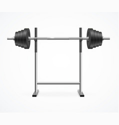 Realistic detailed 3d dumbbell on rack vector