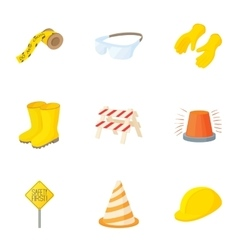 Repair of asphalt roads icons set cartoon style vector image