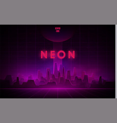 retrowave night city with laser grid and big dark vector image