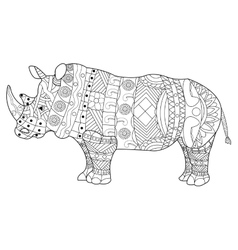 Rhinoceros coloring book for adults vector image