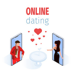 romantic couple on phone screen restaurant table vector image