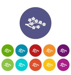 Sakura set icons vector image