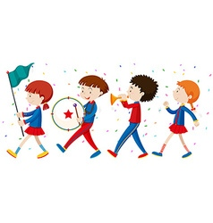 School band marching on the street vector