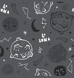 seamless monochrome pattern with space elements vector image