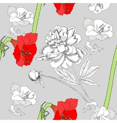 Seamless pattern with amaryllis and flowers-01 vector