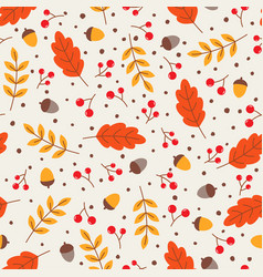 seamless pattern with autumn leaves and acorns vector image