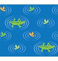 Seamless pattern with funny crocodiles vector image