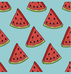 seamless pattern with the slices of watermelon vector image