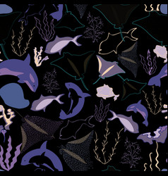 Seamless pattern with whales seaweeds corals and vector