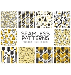 Seamless patterns in Memphis style vector image