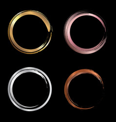 set golden pink gold silver copper metallic vector image
