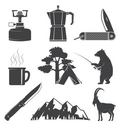 Set hiking and camping icons isolated on the vector