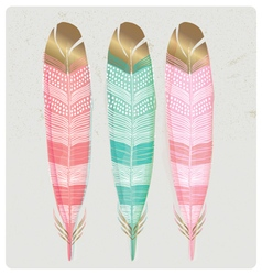 SET OF SHINY GOLD FOIL FEATHERS vector image