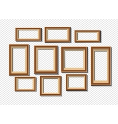 Set of white photo frames on grey background vector