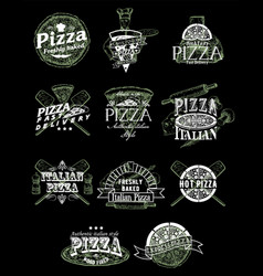 Set vintage pizza emblems logos badges vector