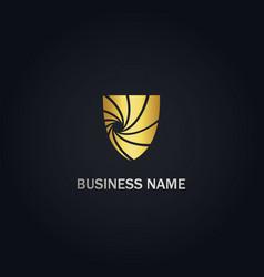 Shield protection abstract company gold logo vector