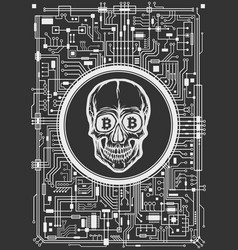 skull with bitcoin symbols vector image