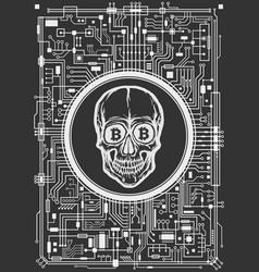 Skull with bitcoin symbols vector