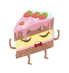 Slice of layered strawberry cake cute anime vector