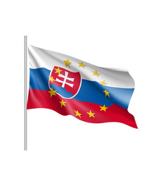 Slovakia national flag with a star circle of eu vector