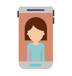 Smartphone faceless woman profile picture with vector