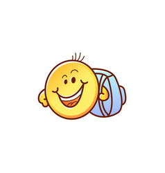 smiley face student with backpack - cute happy vector image