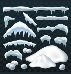 snow ice set winter rocap design white blue vector image