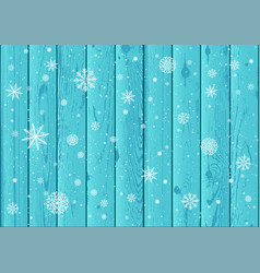 snowfall and blue wood background vector image