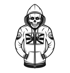 Soccer hooligan skull in hoodie vector
