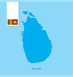 sri lanka country map with flag over blue vector image