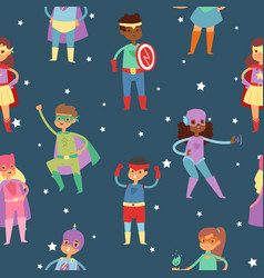 Superhero kids in costumes seamless pattern vector