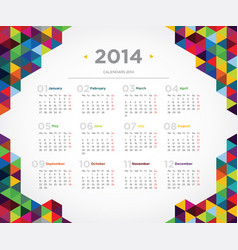 template design calendar 2014 vector image