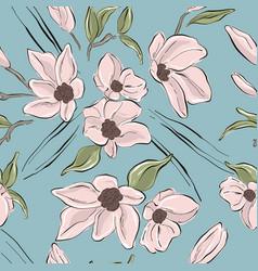 Tender blush flowers on blue background pastel vector