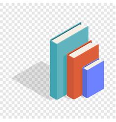Three books standing vertically isometric icon vector