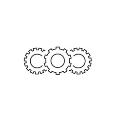 three cogwheels linear icon cogwheel concept vector image