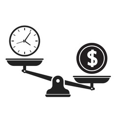time and money on scales icon time is money vector image