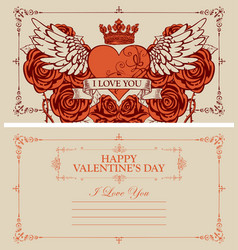 vintage valentine card with heart wings and roses vector image