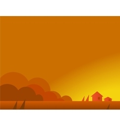 Wallpaper Landscape with Village Houses in Autumn vector