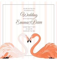 Wedding ceremony invitation flamingo couple heart vector image