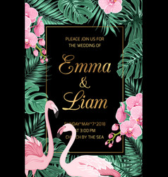 Wedding invite leaves pink orchid flamingo couple vector